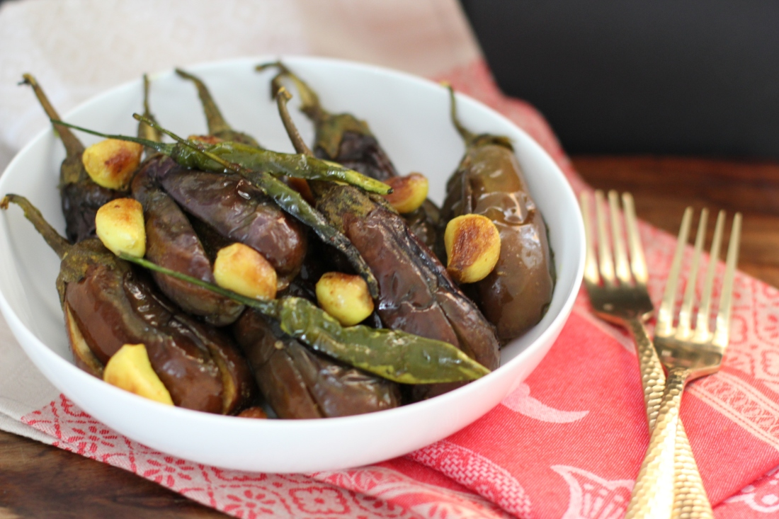 Roasted garlicky eggplant