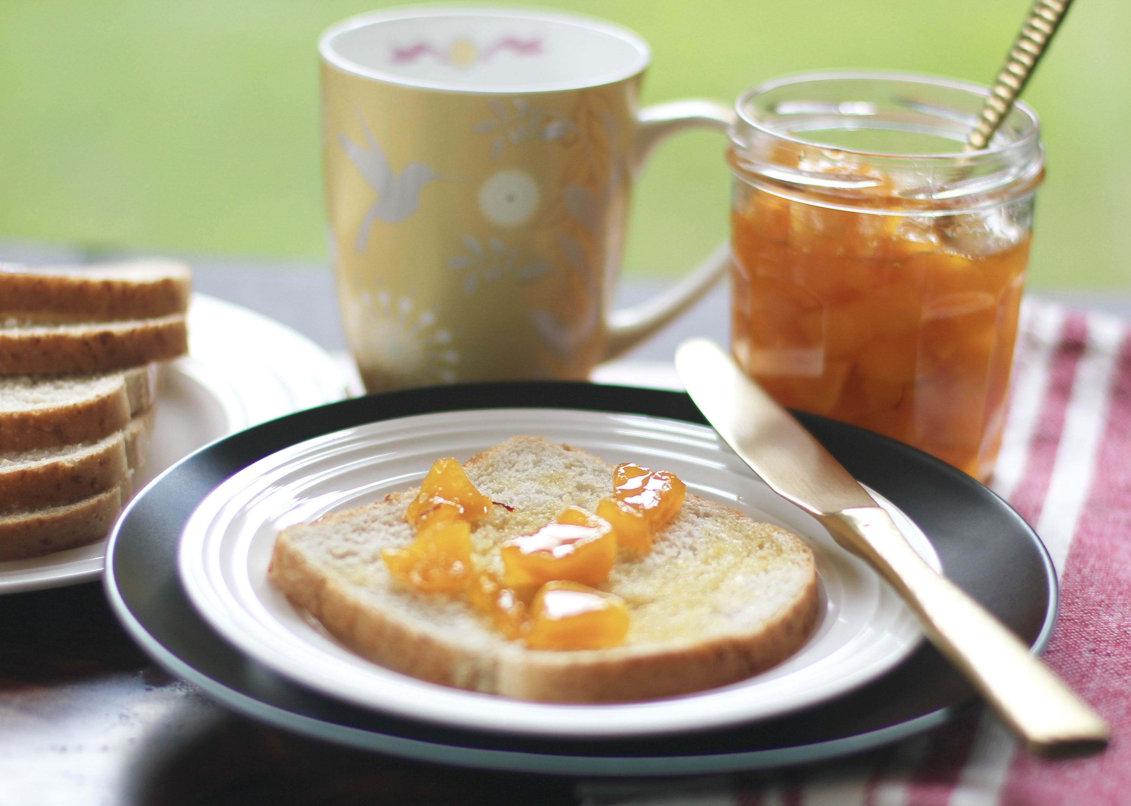 mango jam on piece of toast on a white plate with a knife